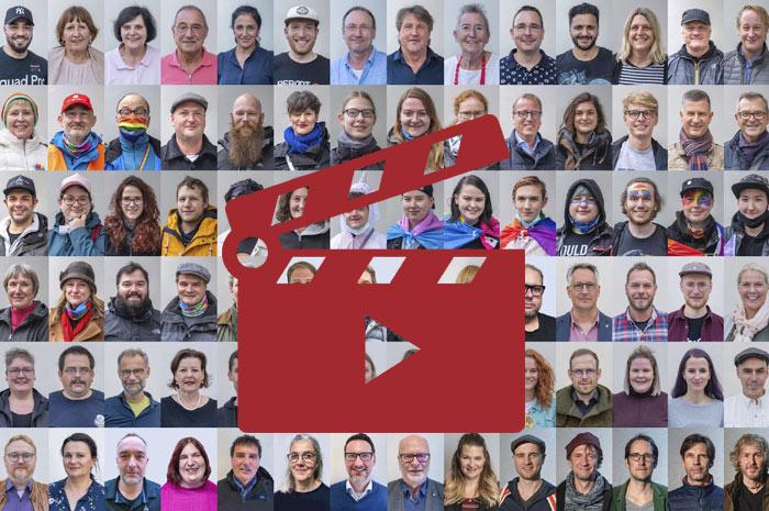Das Video-Fenster 'Die Gesichter zu unserer Plakat-Kampagne :: Dem Hass den Stecker zieh'n! :: WIR SIND STRAUBING' anzeigen ...