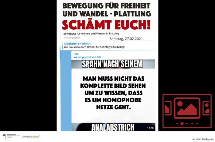 """Das slideshow-Fenster mit begleitenden Bildern '""""Unsere Demokratie ist intakt!"""" – Klare Positionen - Demokratie verteidigen' anzeigen ..."""