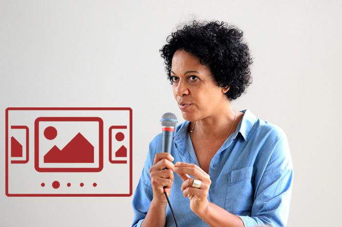 """Das slideshow-Fenster mit begleitenden Bildern 'Filmvorführung """"Die Arier"""" - Im Gespräch mit Mo Asumang' anzeigen ..."""