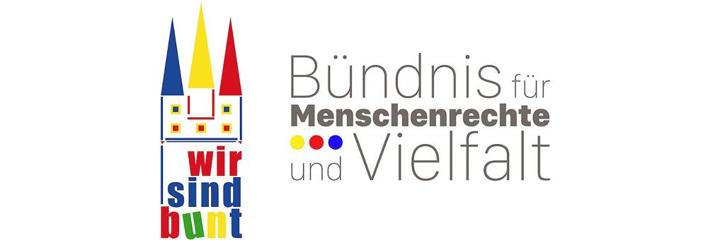 Das Logo von WIR SIND BUNT - Das Bündnis für Menschenrechte und Vielfalt in Straubing.